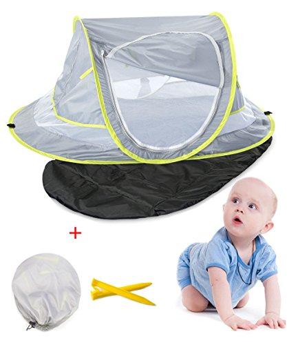 Aappy Baby - Tienda de campaña para playa con protección UV, con almohadilla para dormir UPF 50 + portátil, para playa, refugio de sol, para recién nacido, viajes, cunas, cama, mosquitera, 2 pinzas para acampada al aire libre