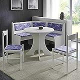 Pharao24 Eckbankgruppe mit rundem Tisch Weiß und Lila Gemustert