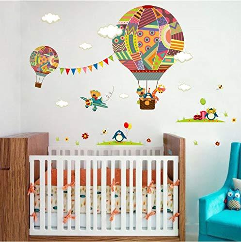 (Qjhdg Bunte Heißluftballon Tier Kindergarten Wandaufkleber Bär Giraffe Kinderzimmer Cartoon Klassenzimmer Wandtattoo Poster 30X90 Cm)