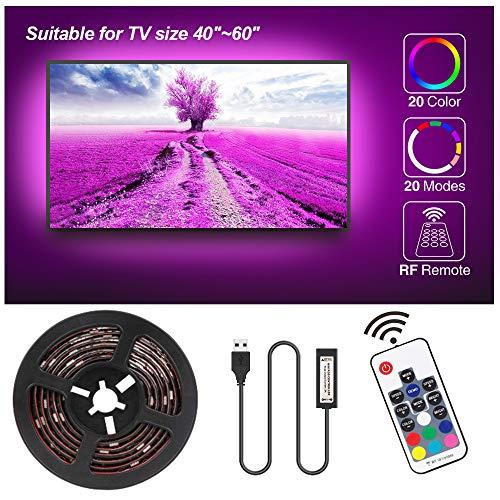 Speclux LED TV Hintergrundbeleuchtung USB, 2.3M LED RGB Strip Streifen TV Beleuchtung für 40-60 Zoll HDTV/PC Monitor, 20 Farben 20 Modi, 17-Tasten RF Fernbedienung, Wasserdicht (2x0.5m, 2x0.65m)