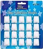 Paquete de 20 autoadhesivos ganchos plásticos blancos cuadrados ganchos adhesivos