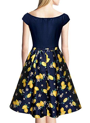 Miusol Damen Elegant Schulterfrei Knielanges Cocktailkleid A-Linie Abendkleid Navy Blau Gr.XL -