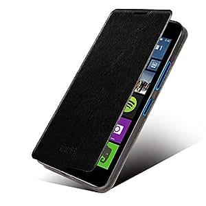 MOFI RUI Series Premium Leather Flip Case Cover with Stand Design for Lumia 640 [Black Colour] - Free Screen Guard