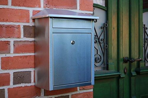 Edelstahl Briefkasten mit extrabreitem Briefschlitz für Zeitungen & Kataloge, Maße 33,3x19x44cm - 7
