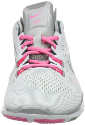 Nike Free Tr 4, Chaussures de sports extérieurs femme Blanc - Weiß (White/Metallic Silver-Diffused Jade-Pink)