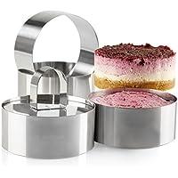 Juego de 4 anillos de cocina, acero inoxidable profesional, diseño de torre de alimentos