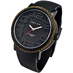 Relax Flor Damen Analog Armbanduhr Schwarz