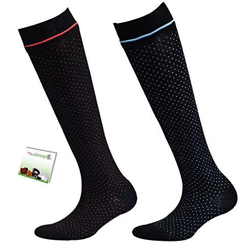 mybrand-yourbrand Kniestrumpf DOPPELPACK mit süßem Pünktchendesign und farblich passender Rüsche in Rot-Dot und Blau-Dot Gr. 39/42 mbyb-21661-950 inkl. Broschüre mybrand-yourbrand