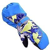 Guantes de invierno de niños guantes de esquí niños/niñas deporte impermeable a prueba de viento y nieve Mitones muñeca extendidos (azul, XS)
