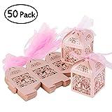 ULTNICE 50Pcs Geschenk Kasten Karton Süßigkeit Kasten Gast Kasten für Hochzeits Taufe Geburtstags Party Dekor Rosa