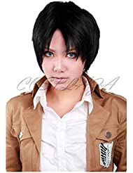 COSPLAZA Perruque Anime Cosplay Wigs Levi Rivaille Ackerman Attack on Titan courte Cheveux