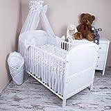 Amilian® Baby Bettwäsche 5tlg Bettset mit Nestchen Kinderbettwäsche Himmel 100x135cm Fahrrad Chiffonhimmel