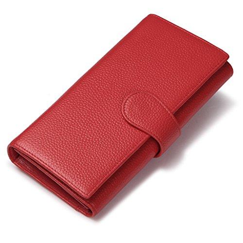 JEEBURYEE Portefeuille Porte-monnaie en cuir pour Femme Grande Capacité Long Chic Porte Carte de Credit avec Protection RFID Portefeuille Compagnon de Voyage Rouge