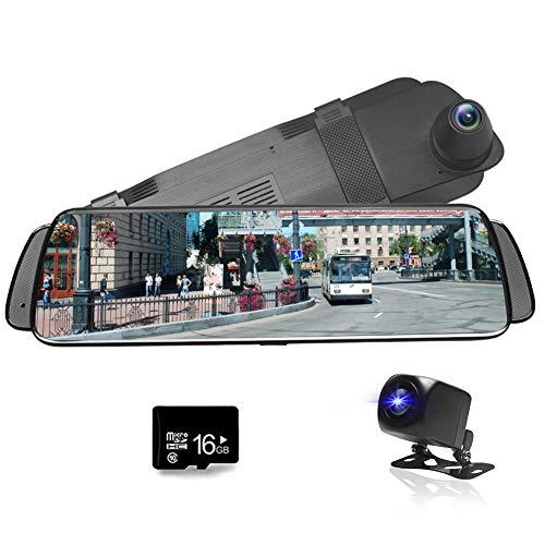 """CUagin 10"""" Spiegel-Schlag-Nocken-strömende Mittel Full HD 1080P Auto-Videokamera DVR, Das Recorder Rearview Mirror, Wasserdichte Nachtsicht-Front und Rückfahrkamera 1080P fährt"""