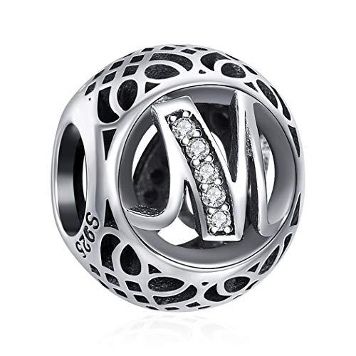 M Bead Charms für Damen Handwerk 925 Sterling Silber Geeignet für Armband, Geschenke für Frauen, Nickelfrei 26 Buchstaben DIY Serie