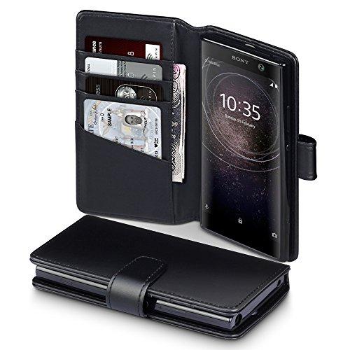 Terrapin, Kompatibel mit Sony Xperia XA2 Hülle, [ECHT LEDER] Brieftasche Case Tasche mit Standfunktion Kartenfächer und Bargeld - Schwarz