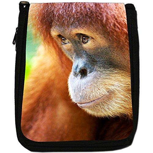 Orangutan Scimmia primati animali Medium Nero Borsa In Tela, taglia M Close Up Orangutan