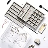 Beautify Acrylic Jewellery Organiser Box with 3 Drawers & Soft Grey Velvet Dividers - Clear