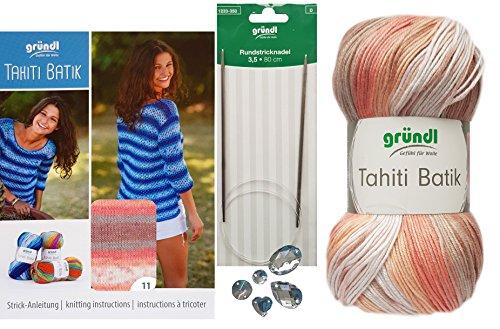 5X 100 Gramm Gründl Tahiti Batik Wolle SB-Pack Wollset inkl. Strick-Anleitung für Ein Pulli (Gr. 40/42) im Netzmuster, Rundstricknadel und 3 Strasssteine Zum aufnähen (11 Aprikose)