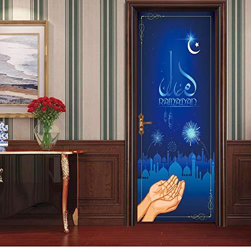 FUZILV 77X200 cm Ranmanda In Der Dunkelheit Islamischen Muslim Wandbild Kunst Abnehmbare Kalligraphie PVC Aufkleber Tür Wandaufkleber Wohnkultur