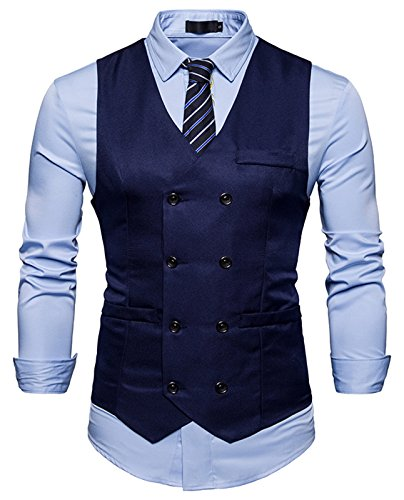 Whatless Gilet Slim Elegante Uomo - Doppio Petto Testurizzato Formale Scollo V Blu