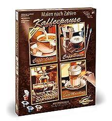 Schipper 609340553 Zahlen - Kaffeepause-Bilder malen für Erwachsene, inklusive Pinsel und Acrylfarben, Quattro je 18 x 24 cm
