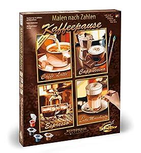 """Schipper 609340553 - Juego de pintura por números diseño """"Café"""" con 4 imágenes de 18 x 24 cm Importado de Alemania"""