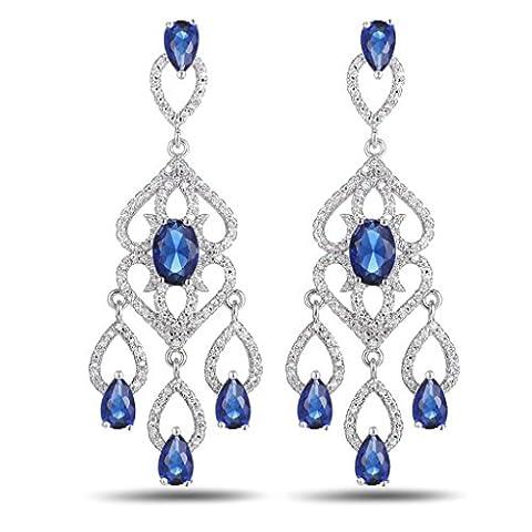 AnaZoz Bijoux Femme Boucles d'Oreilles Fantaisie Or Blanc Bleu Earrings Chandelier Teardrop