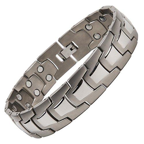 North South top44Titanium zweireihig Magnetverschluss Link Armband mit GRATIS Luxus Geschenkbox und Demontagewerkzeug