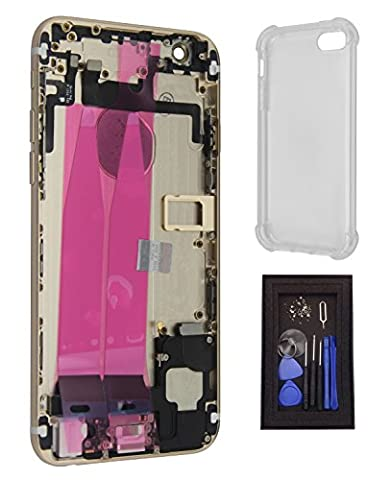 iRenovo® Coque Arrière Assemblée Complète de Remplacement pour Apple iPhone 6 Or (Gold) (Châssis Complet,Nappe connecteur de charge, Nappe et Bouton allumage, Nappe et Boutons Volume, Nappe et Bouton Vibreur, Prise Jack, Haut-parleur, Éjecteur et Tiroir Carte SIM, Autocollant Batterie) + Coque de protection transparente haut de gamme + Set de vis complet & Outils de réparation fournis (8 Pièces)
