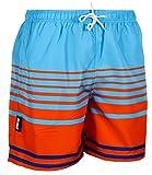 Luvanni Herren Badeshorts Beachshorts Boardshorts Badehose Schwimmhose Männer Gestreift Streifen Orange Blau Farbe Bunt M