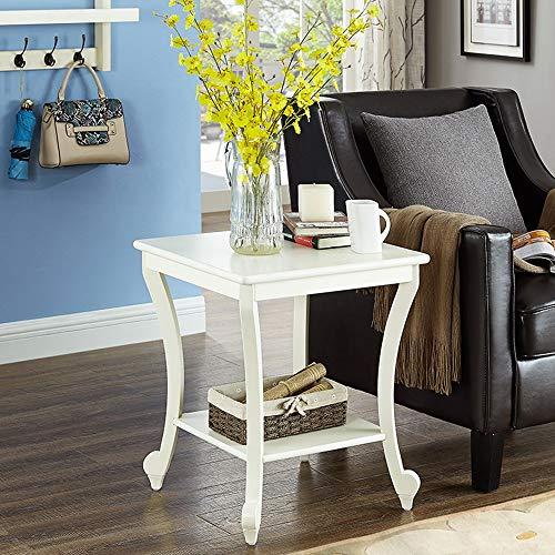 Klapptisch YANFEI, Beistelltisch, Quadrat Massivholz Tisch Schlafzimmer Akzent Sofa Beistelltisch mit Lagerung & Regal Gebogene Beine, Nussbaum Farbe, milchig weiß (Farbe : Milky White) -
