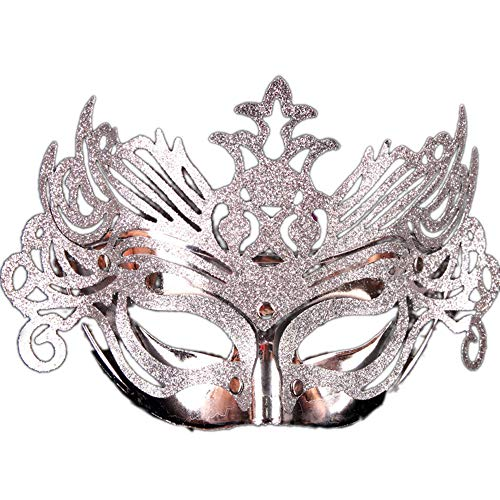 JASNO Kinder Unisex Masquerade Half Face Gold Pulver Crown Maske Ghost Festival Kostüm Kostüm Kindertag Party 5-Teiliges Set, Multicolor,Silver