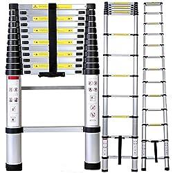 Costway Teleskopleiter Aluleiter Ausziehleiter Anlegeleiter Mehrzweckleiter Leiter Alu 3,8m