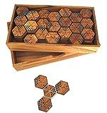 Hexadomino - Hexamino - Sechseck-Domino - Legespiel - Gesellschaftsspiel aus Holz mit 63 Spielsteinen