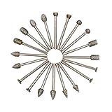 Diamant Fräser Set - GOXAWEE 20 Stück Diamant-Schleifbohrer-Set Schleifstifte mit 3 mm Schaft für Dremel Rotationswerkzeuge / DIY Schleifen, Polieren, Gravieren