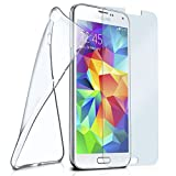 moex Silikon-Hülle für Samsung Galaxy S5 Mini | + Panzerglas Set [360 Grad] Glas Schutz-Folie mit Back-Cover Transparent Handy-Hülle Samsung Galaxy S5 Mini Case Slim Schutzhülle Panzerfolie