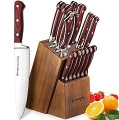Idea Regalo - Emojoy Set Coltelli, Set Coltelli Cucina 15 Pezzi, Set di Coltelli da Cucina Professionale con Acciaio Tedesco, Ceppo Coltelli in Legno