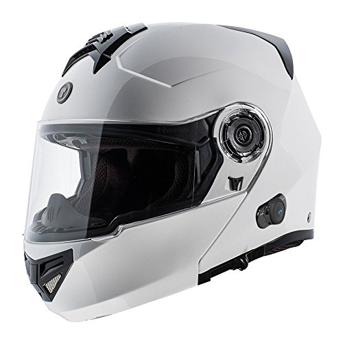 TORC T27B Blinc Bluetooth integrato Full Face casco moto, bianco lucido, taglia M