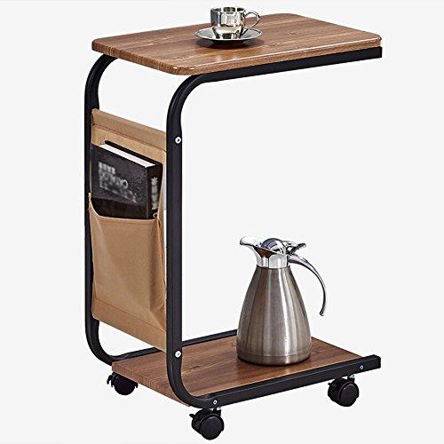 Full Love House Table d'appoint Table basse Table d'angle MDF + alliage d'aluminium Simple Mode Avec rangement Avec roue Amovible Couleur du bois