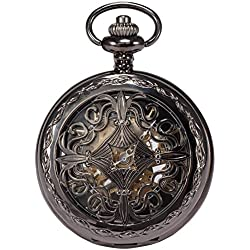 AMPM24 Steampunk Black Copper Case Skeleton Mechanical Pendant Pocket Watch Fob + AMPM24 Gift Box WPK167