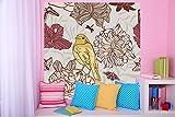 selbstklebende Fototapete - Kinderbild - Vogel mit Blumen - Vintage - 200x200 cm - Tapete mit Kleber – Wandtapete – Poster – Dekoration – Wandbild – Wandposter – Wand – Fotofolie – Bild – Wandbilder - Wanddeko