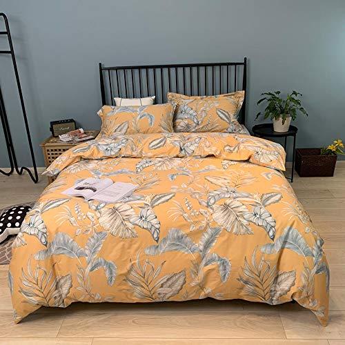 XULIM Bettwäschesatz von Vier Dunkle Blätter gelb Bettwäsche Set Ganze Baumwolle Bett Set King Size Bettlaken Bunte Bettbezug, König, 220 * 240cm (Baumwolle Bunte Blatt König)
