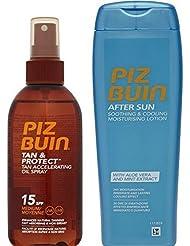 Piz Buin bronzage accélération huile pulvérisateur F15 + REFROIDISSEMENT après-soleil lotion