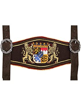 GermanWear, Trachten Hosenträger lederhosen mit Bayerischem Wappen-stickerei