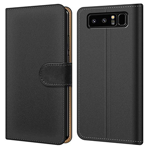 Conie BW32267 Basic Wallet Kompatibel mit Samsung Galaxy Note 8, Booklet PU Leder Hülle Tasche mit Kartenfächer und Aufstellfunktion für Galaxy Note 8 Case Schwarz