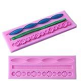 Albeey Silikonform Perlenkette Blume Fondant Form für Kuchen Dekorieren (4#)