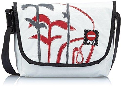 360° Umhängetasche Segeltuchtasche Paula Floral, Grau/Rot, 34 x 24 x 10 cm, 8 Liter, 10841