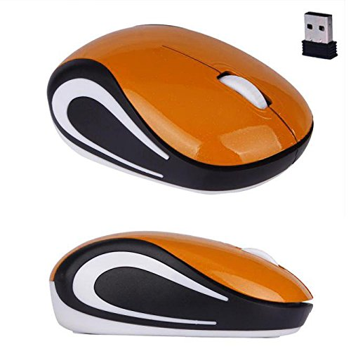 Gaddrt Maus Nette mini 2,4 GHz drahtlose optische Maus Mäuse für PC Laptop Notebook Kabellose Maus 8.5x5.3x2.7cm (Orange)