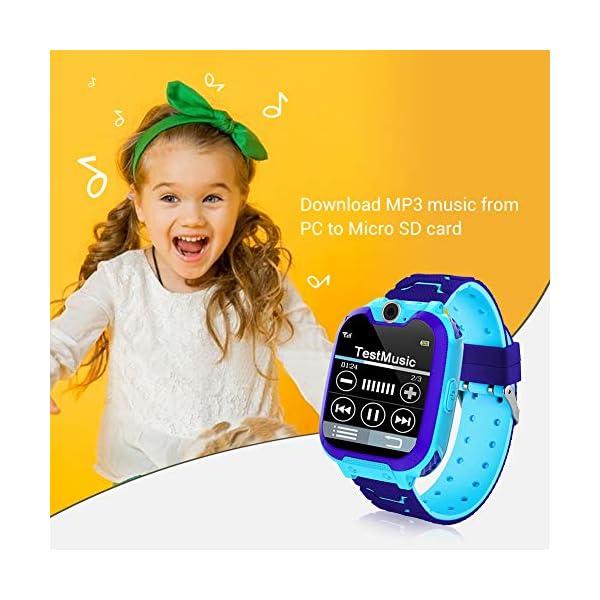 Smartwatch para niños, Smart Watch Phone con Reproductor de música, SOS, 1,44 Pulgadas, Pantalla táctil LCD con cámara Digital, Juegos, Despertador para niños y niñas 3